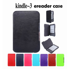 kindle 3 3rd generation cover case for Amazon kindle 3 keyboard kindle 3 Pu leather case(China (Mainland))