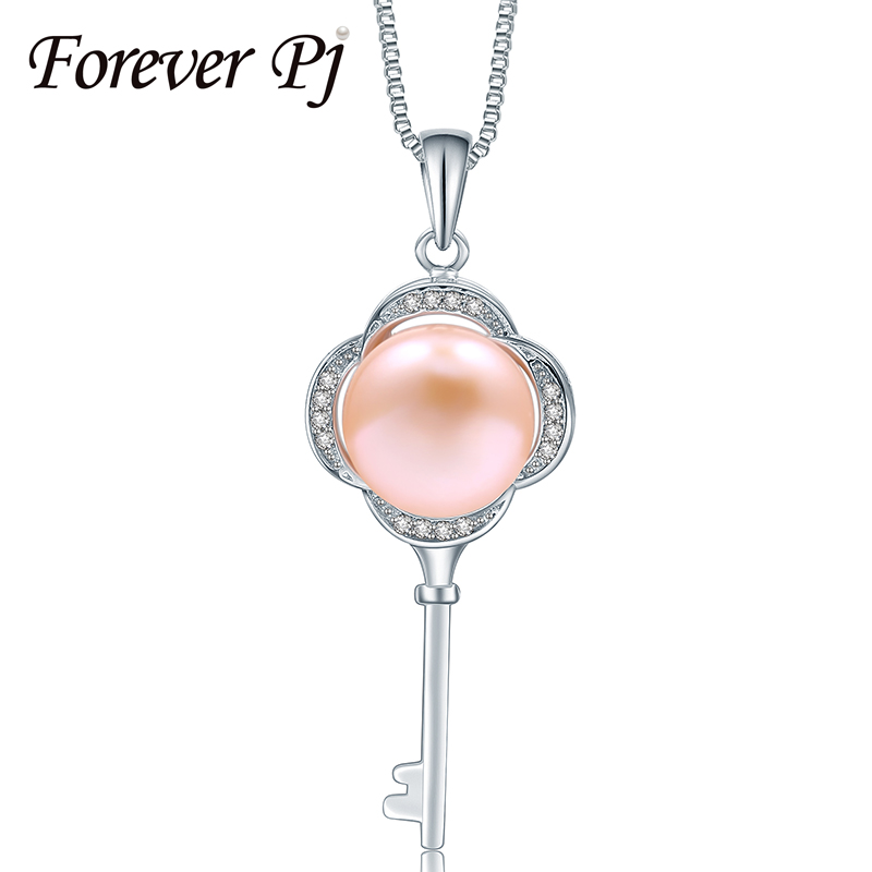 Forever 925 sterling silver love key necklaces 100% natural freshwater pearl necklaces & pendants for mom gift pearls 10-10.5mm(China (Mainland))