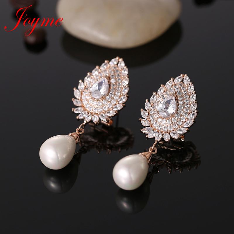 Joyme Pearl Long Dangle Earrings Female Zirconia Wedding Earrings Rose Gold Plated Classic Wholesale Newest Design Jewelry 4086<br><br>Aliexpress