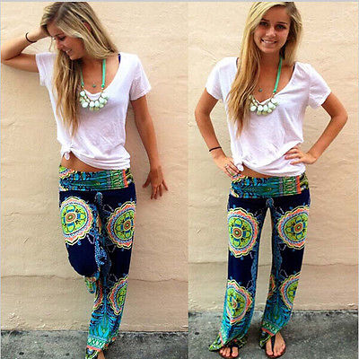 New Womens Fashion Floral Print Harem Pants Loose Elastic Waist Trousers CasualОдежда и ак�е��уары<br><br><br>Aliexpress
