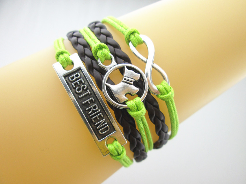 Tibetan Silver Infinity/Dog/Best Friend Charms PU Leather Braided Friendship Bracelet (Green/Dark Brown) - Retail--Store store