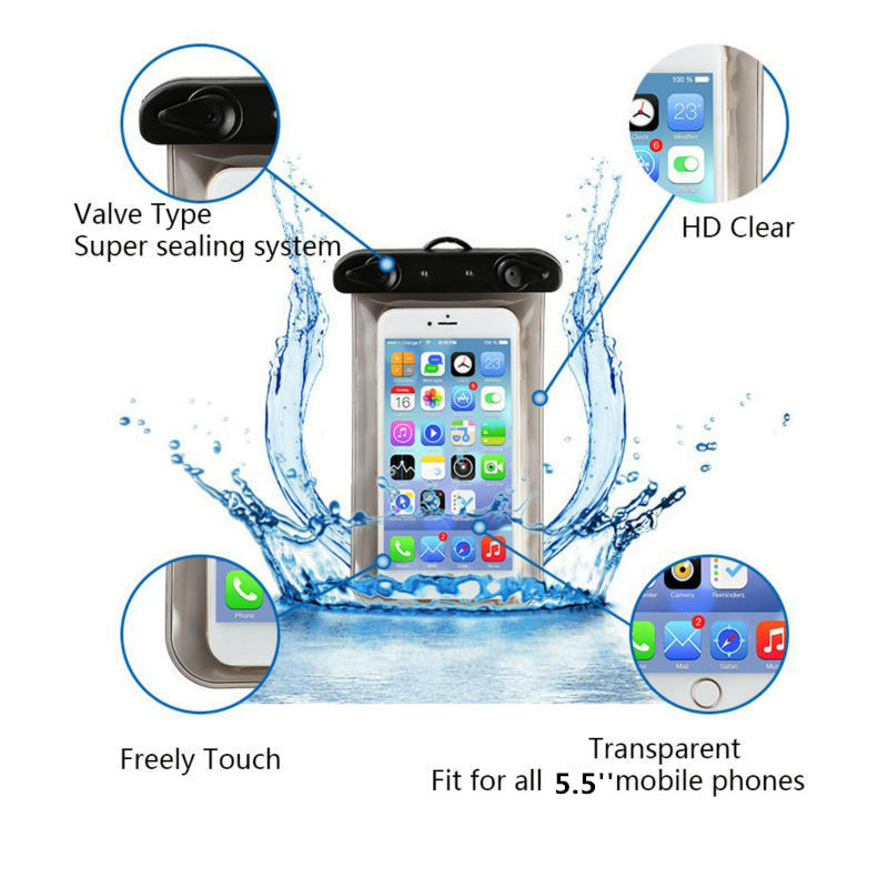 5.5'' Universal Waterproof Mobile Phone Bag Case Clear PVC Sealed Underwater Cell Smart Phone Dry Pouch Cover Swimming Diving(China (Mainland))