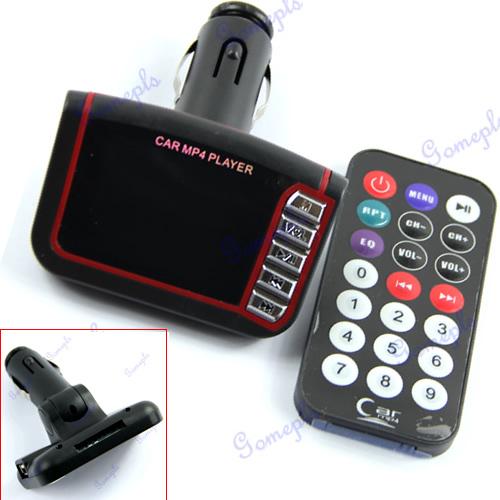 G104Free Shipping New Black Wireless Car Kit MP4 Player FM Transmitter Modulator USB SD Card(China (Mainland))