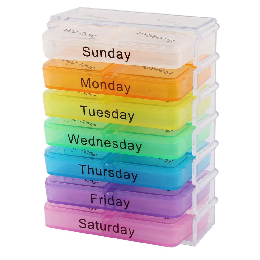 UXCELL Household Travel Detachable Medication Reminder Daily Am Pm Weekly Pill Box Case