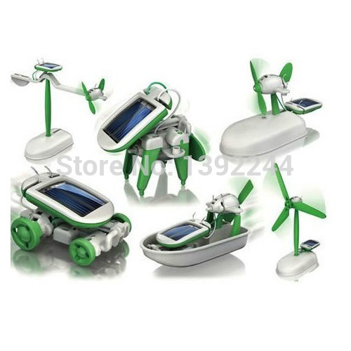 Solar Power 6 in 1 Toy Kit DIY Electronic Toys Robot Car Boat Dog Fan Plane Puppy(China (Mainland))