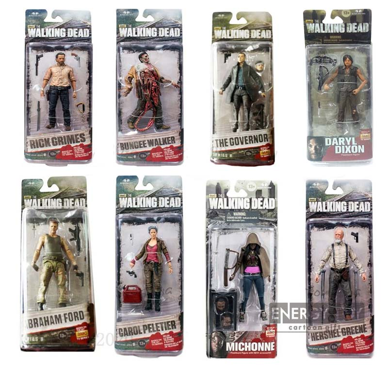 SAINTGI Walking Dead Daryl Dixon Hershel Greene Bungee Walker Rick Grimes Andrew Lincoln Michonne Knife Female Peletier figure(China (Mainland))