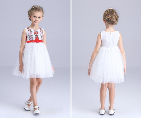 3-12Y new 2016 summer high quality girls lace sally patchwork flower princess dress girls party dress baby girl princess dress(China (Mainland))