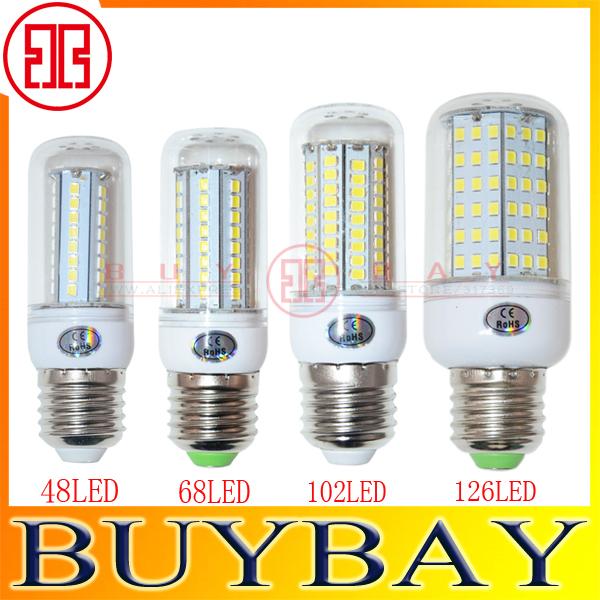 E27 2835SMD 48LED 68LED 102LED 126LED 220V White or Warm White LED lamp 15w 25w 30w 35w led Corn light,chandelier LED bulb(China (Mainland))