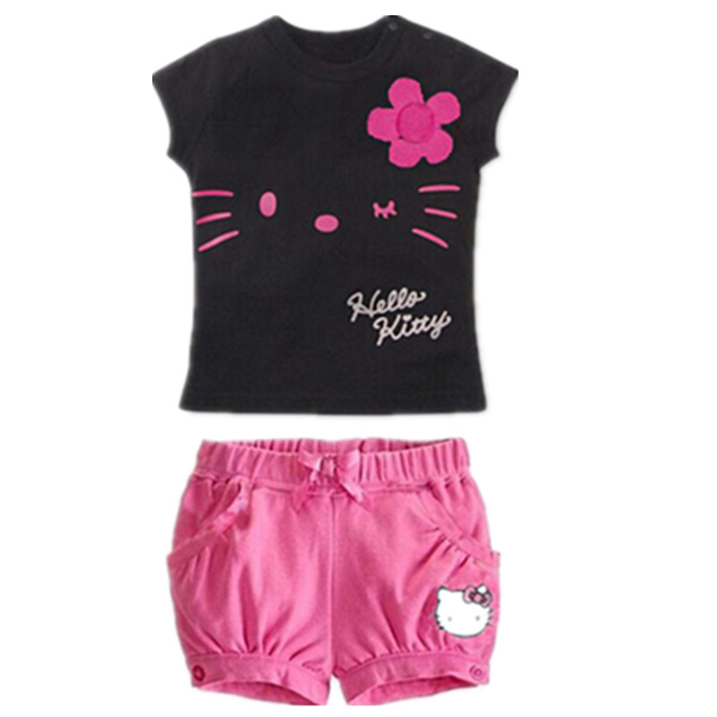 Drop Shipping New 2015 Children Hello Kitty Sets Girls Sport Clothing Set Baby Kids Clothes Cute Top Tees T Shirt Shorts Pants<br><br>Aliexpress