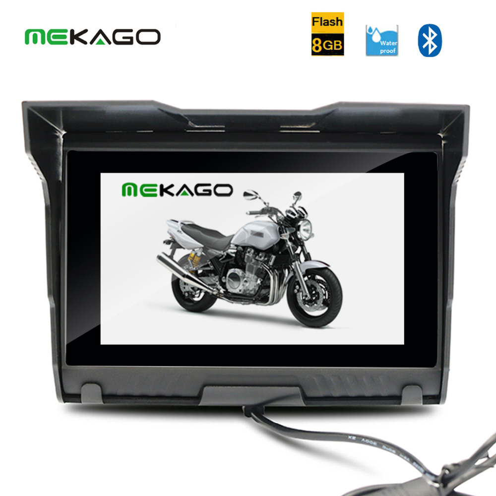 Free shipping Updatable Original Maps 5 Inch 8GB HD 800x 480 Motorcycle GPS+ Waterproof  + Bluetooth + 8GB Internal Memory + FM<br><br>Aliexpress