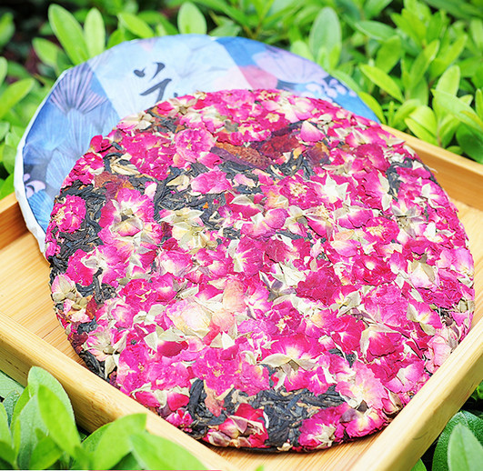 357 rose dian hong puer tea cake shape rose black tea rose puer pu er