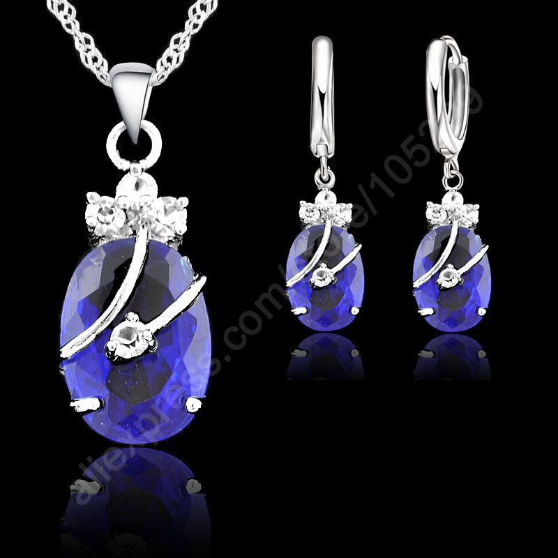 JEXXI New Flower Water Drop Hot 925 Sterling Silver Jewelry Sets Cubic Zironia Pendant Necklace Earrings Jewellery Collection(China (Mainland))