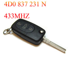 For AUDI A6 TT New 3 Button Flip Key Remote Fob Full 433MHZ 4D0 837 231 N(China (Mainland))