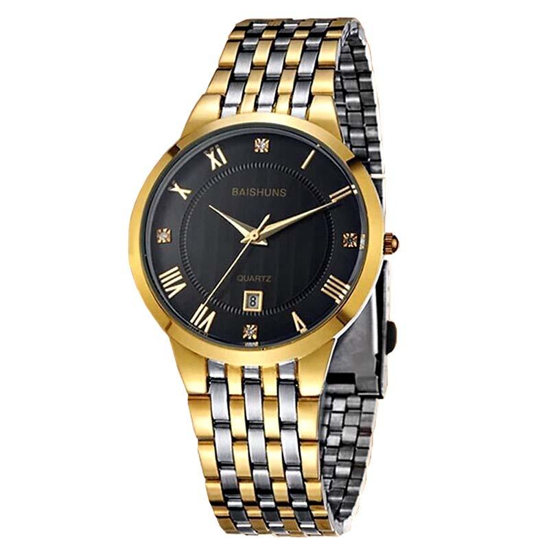 BAISHUNS Luxury Gold Watch Men Full Steel Business Calendar Wristwatch Men Luxury Dress Watches Relogio Masculino 3900<br><br>Aliexpress
