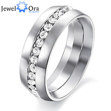 #RI100192 Fashion jewelry engagement wedding gift rings for women 316L Stainless Steel .75CT Channel-Set Eternity Ring