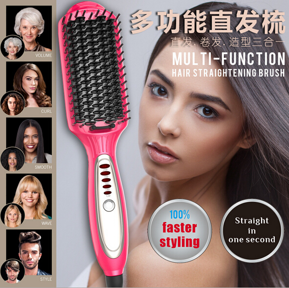 1Pcs LED Faster Multi-Function Hair Straightening Anion Brush Straight in one Second(China (Mainland))