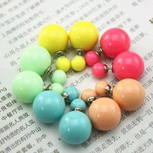 New Fashion contracted Sided Simulated simulated pearl Stud Earrings Jewelry Vintage Earing for Women Wholesales Accessories