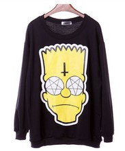 Brand H360 fashion 2015 new style sweatshirts cartoon Simpson head print hoodies tops Black plus size pullovers(China (Mainland))