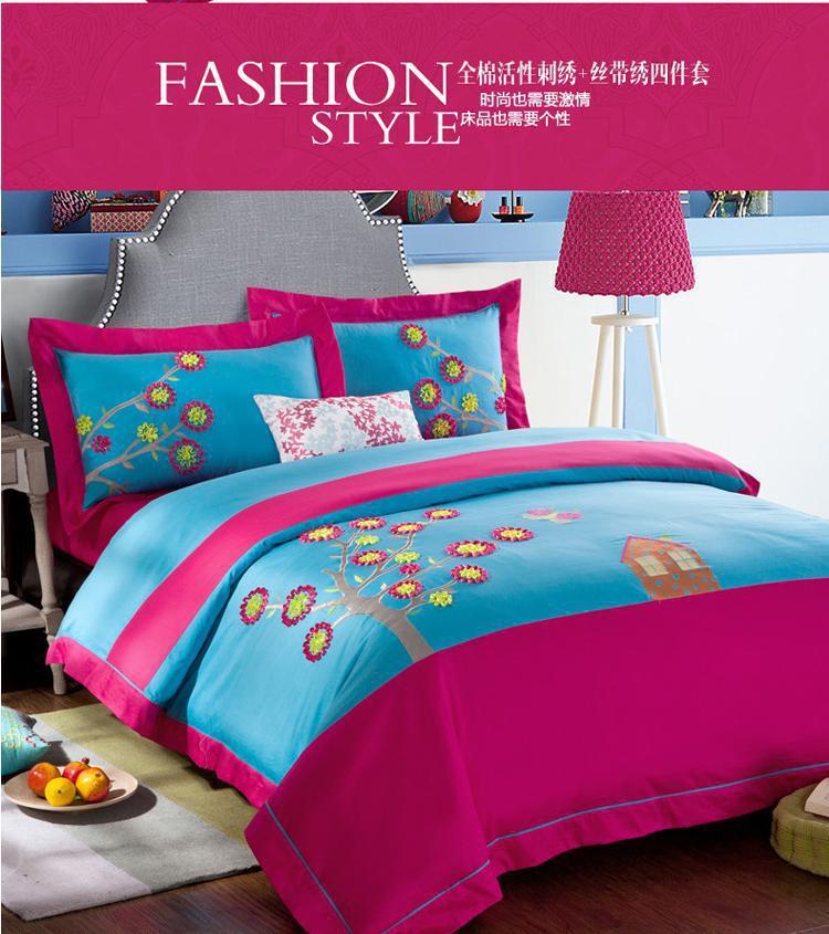 Blue pink colorful designer brand bedding comforter for Bed quilt designer