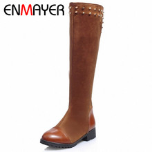 ENMAYER New Knee-High Rivets Women Boots Med Platform Round Toe Platform Knight Boots Big Size 34-43(China (Mainland))