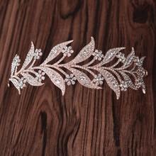 Rose Gold Crystal leaves Vine Tiara Wedding Headband Hair Accessories Bridal Head Tiaras Hair Jewelry Women wedding crowns(China (Mainland))