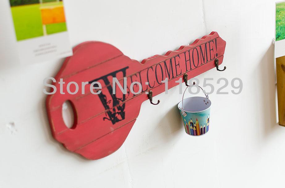 Zakka Style Wooden Craft Key Pattern Wall Hanger Hooks Creative Home Decoration ,#71036 - J&P Store store