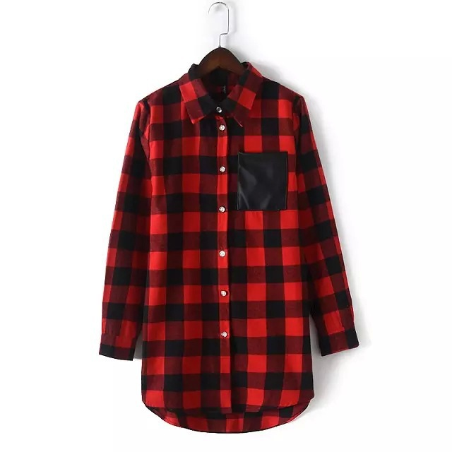 Wb9131871 women long sleeve flannel red plaid shirt in Womens red plaid shirts blouses