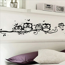 DIY Black Owl Cartoon Wall Stickers Removable Art Vinyl Decal Kids Nursery Room Home Decor~GS660(China (Mainland))