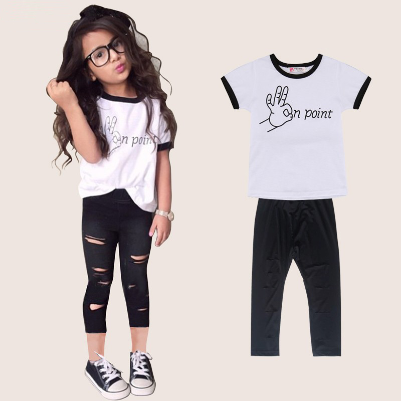 New Arrive Girls Clothing Sets Kids Clothes 2016 Summer Fashion Short Sleeve T-Shirt +Pants Children Clothing Vetement Fille(China (Mainland))