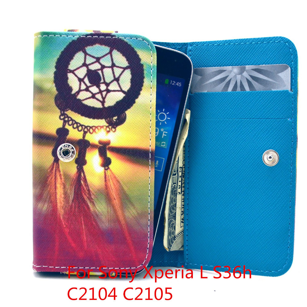 For Sony Xperia L S36h C2104 C2105 New cute wallet Mobile Phone Bags 20 colors phone case cover(China (Mainland))