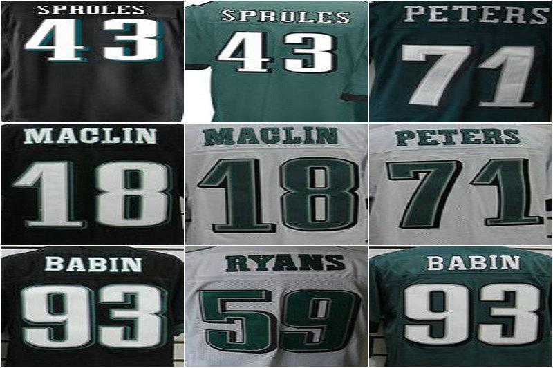 Philadelphia 43 sproles 71 peters 18 maclin 93 babin 59 ryans 95 kendricks Men Elite American Football Jerseys,cheap Jersey(China (Mainland))