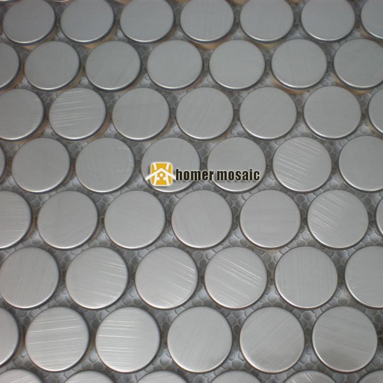 lovely 20mm round brushed finished silver color stainless steel metal mosaic tiles mesh mounted bathroom living room mosaic(China (Mainland))