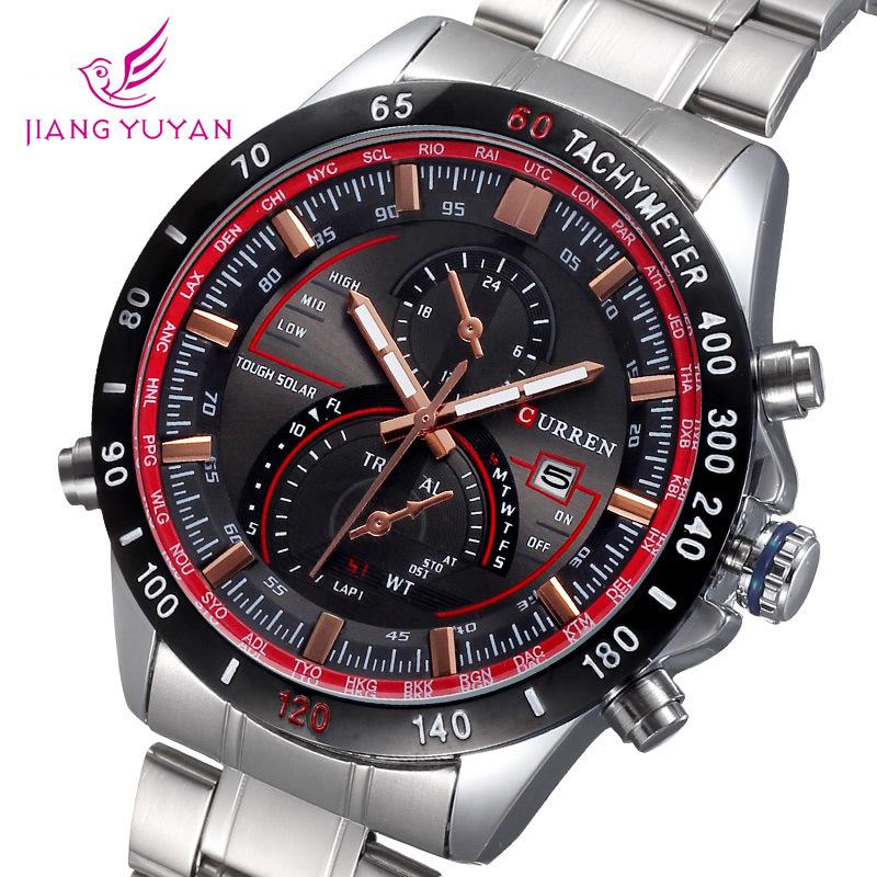 Currens business calendar watch authentic steel round dial luminous decorative strip wholesale men<br><br>Aliexpress