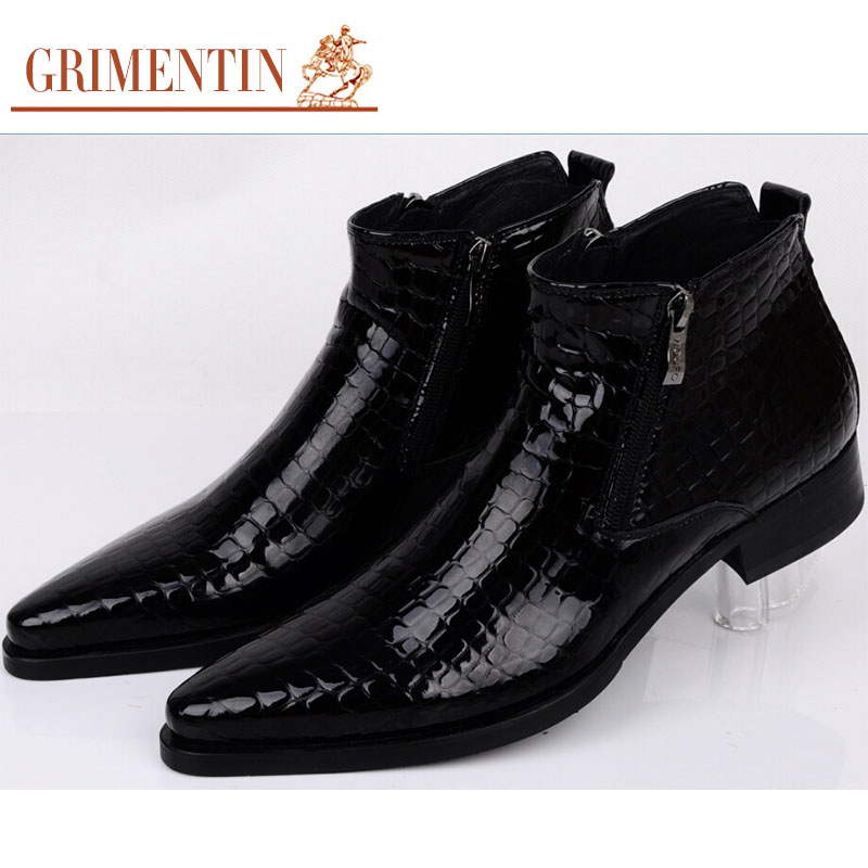 2016 Italy high top fashion mens ankle boots patent leather black blue luxury serpentine men dress shoes for party business b229(China (Mainland))
