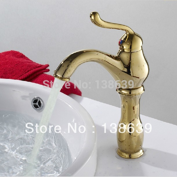Free Shipping Gold Bathroom Faucet Single Lever Hot And Cold Faucet In Bathroom Luxury Vessel