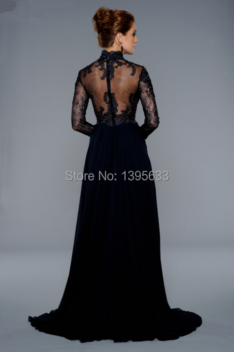 Custom Size Dark Navy Long Lace Chiffon Gown See Through Back Long Sleeves Evening Dress From Suzhou(China (Mainland))