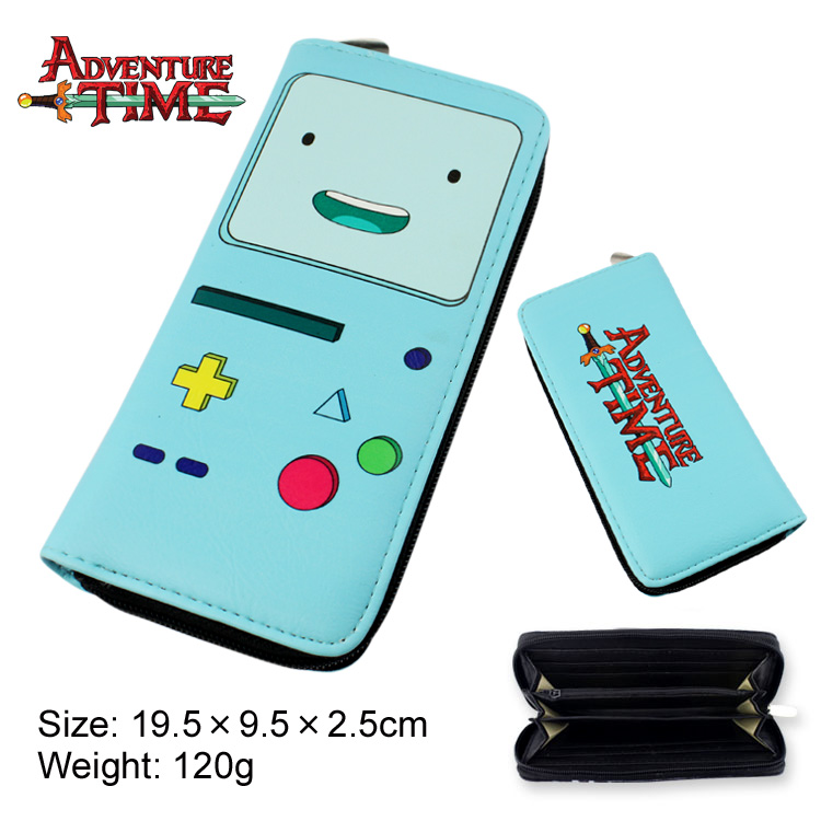 Colorful long style PU wallet/purse of Adventure Time BMOw/ zipper<br><br>Aliexpress