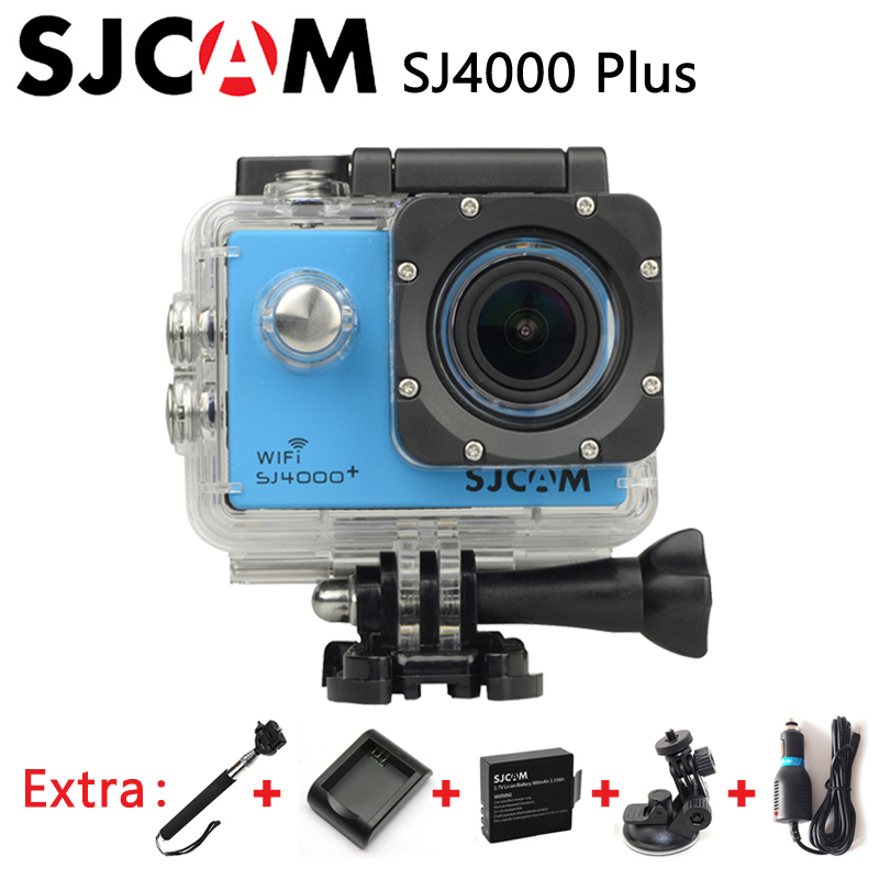 Original SJCAM SJ4000 Plus WiFi 2K Gyro Action Camera Waterproof sj Cam +Extra 1pcs battery+Charger+Car Charger+Holder+Monopod(China (Mainland))