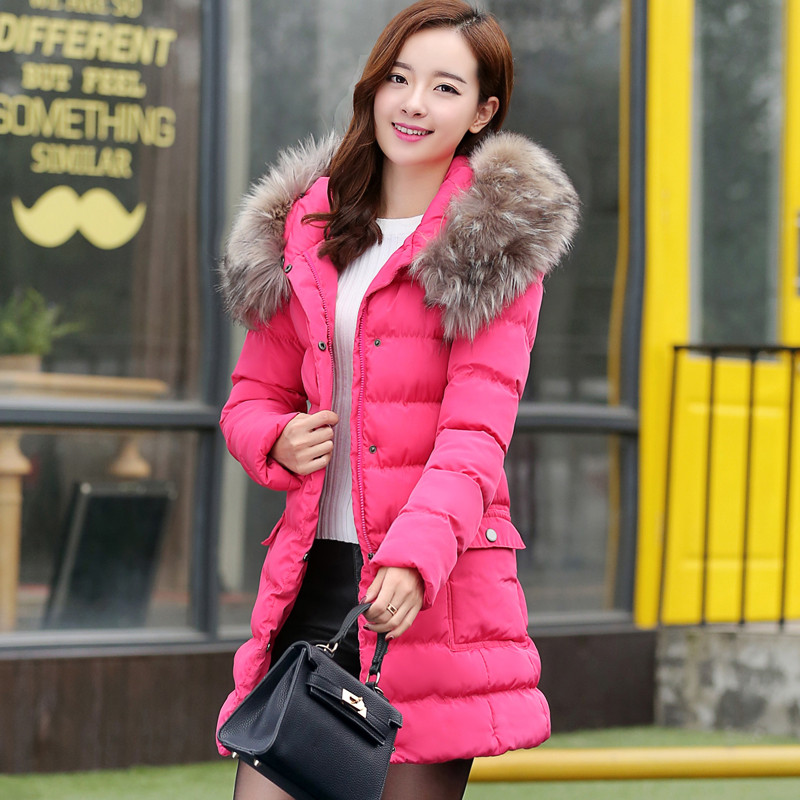 4XL Women winter clothing cotton padded jacket  fur collar hooded women's thick winter long coat jacket female warm parka TT273