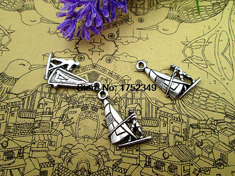 25pcs--Wind Surfing Charms, Antique Tibetan silver Water Sports charm Pendants, DIY Supplies,22x15mm(China (Mainland))