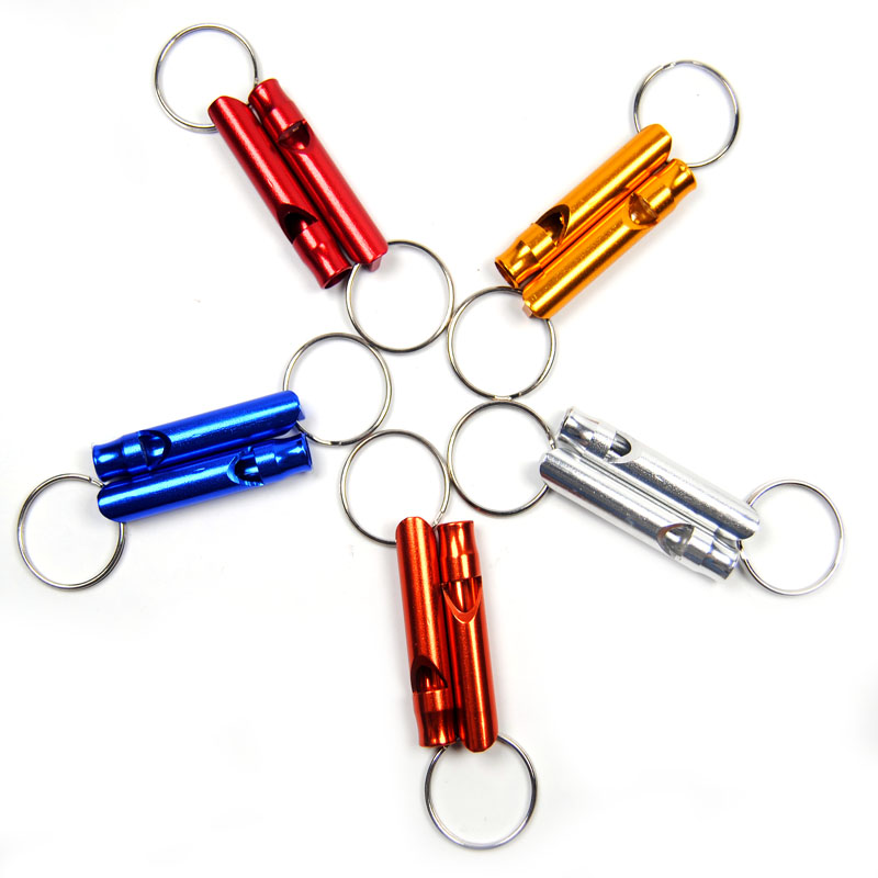 10pcs Survival Whistle Aluminum Emergency Keychain Camping Hiking Outdoor Sport Basketball football referee whistle cheerleaders(China (Mainland))