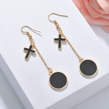 Vintage New Silver Cross Dangle Earrings Long Handmade Crystal Stone Drop Earrings For Women Girls Drop Shipping(China)