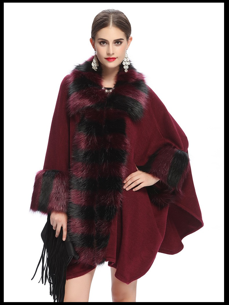 2016 New Winter Womens Capes and Ponchos Fashion Fake Fox Fur Collar Cashmere Sweater Women Knitted Cardigan Poncho Y1211-121E