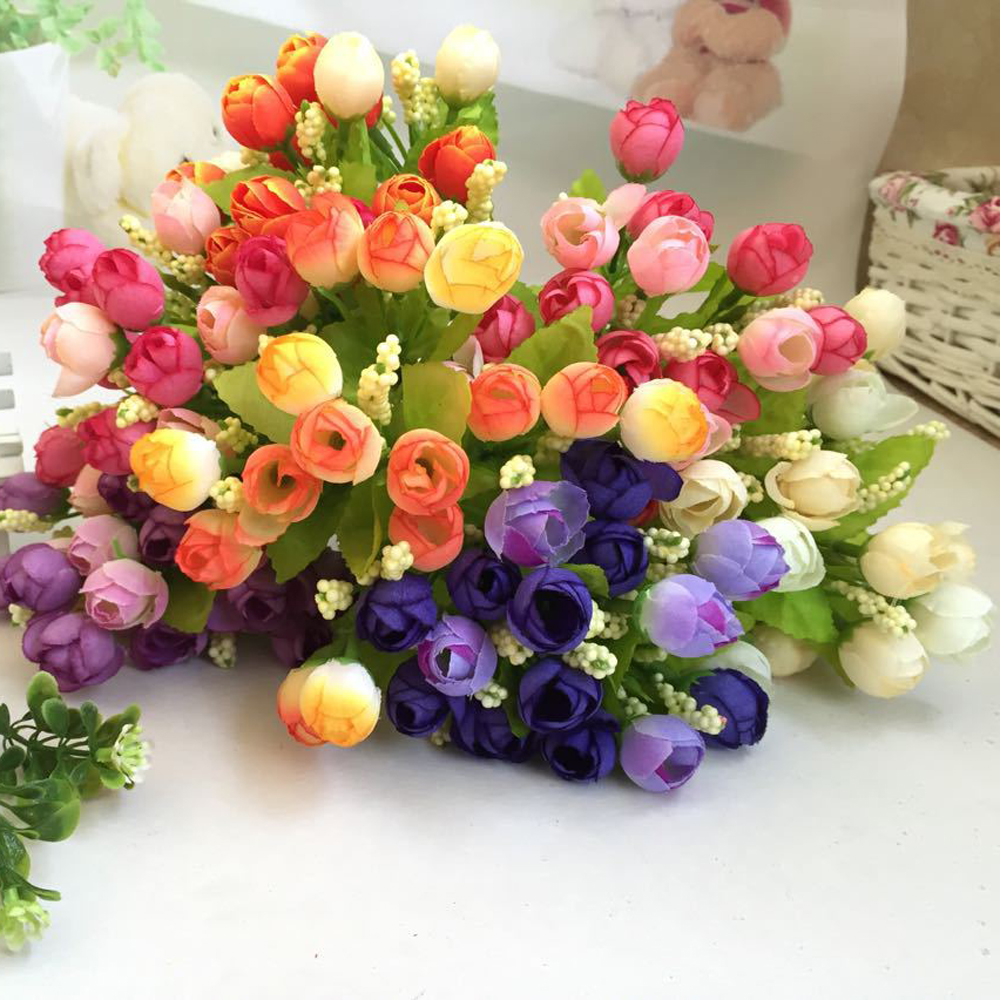 Lovely pet Free Shipping 15 Heads Unusual Artificial Rose Silk Fake Flower Leaf Home Decor Bridal Bouquet Jun16(China (Mainland))