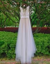 Mryarce חוף חתונה שמלת אשליה מחשוף תחרה אפליקציות Flowy טול קיץ שמלות כלה שמלות עם כפתורים(China)
