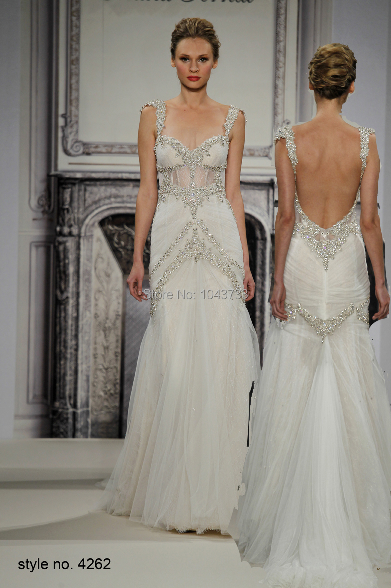 Pnina tornai romantic mermaid beaded wedding dresses with for Beaded low back wedding dress