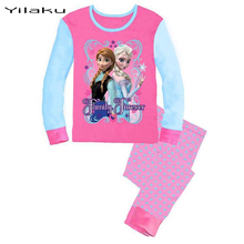 2015 Brand Character Elsa Pajamas Set Baby Girls Cute Cotton Sleepwear Pajamas Set Children Kids Pijama Infantil kids Clothing