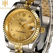 2016 Luxury golden Holuns Original business mechanical men watch,Stainless Steel Waterproof Shock Resistant reloj digital