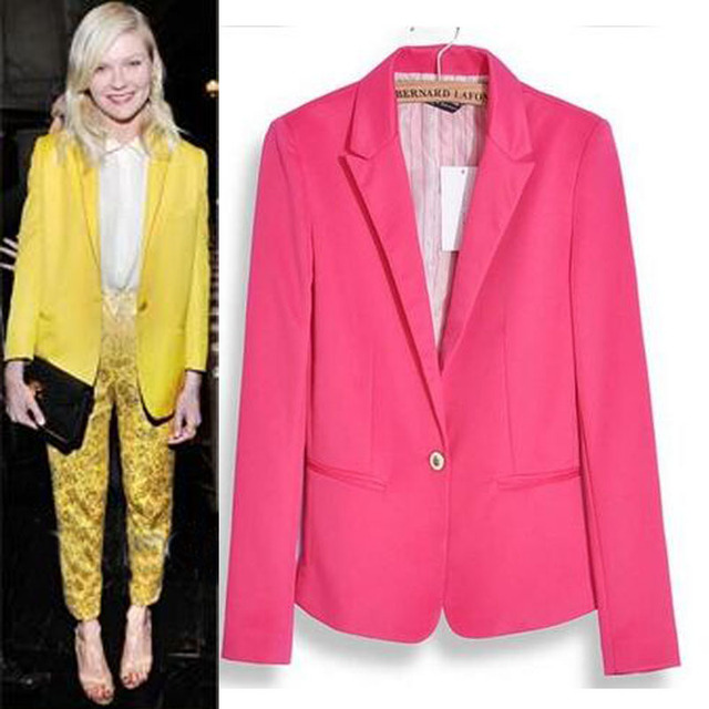 2015 New Fashion Jacket Blazer Women Suit Long Sleeves Coat Lined With Striped Single Button Vogue Blazers Jacket