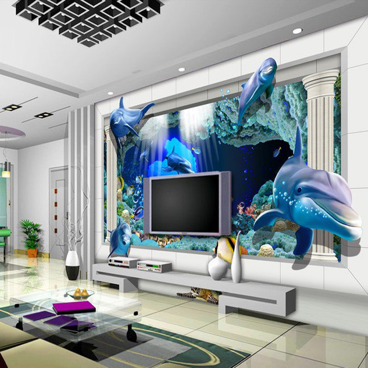 New fashion design 3d dolphin wall mural wallpaper kids for 3d wallpaper for home decoration